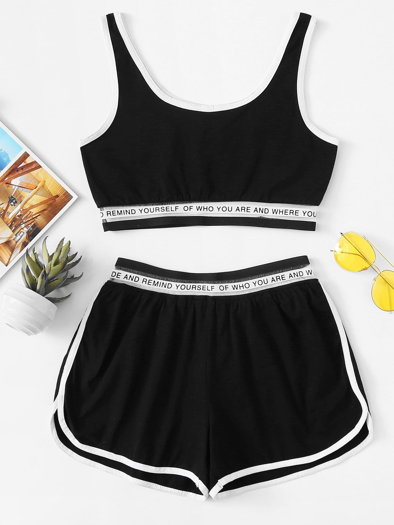 Letter Tape Panel Cami With Shorts