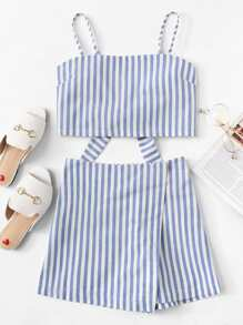 Knot Back Striped Cami With Shorts