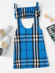 Plaid Tube Top With Overall Dress