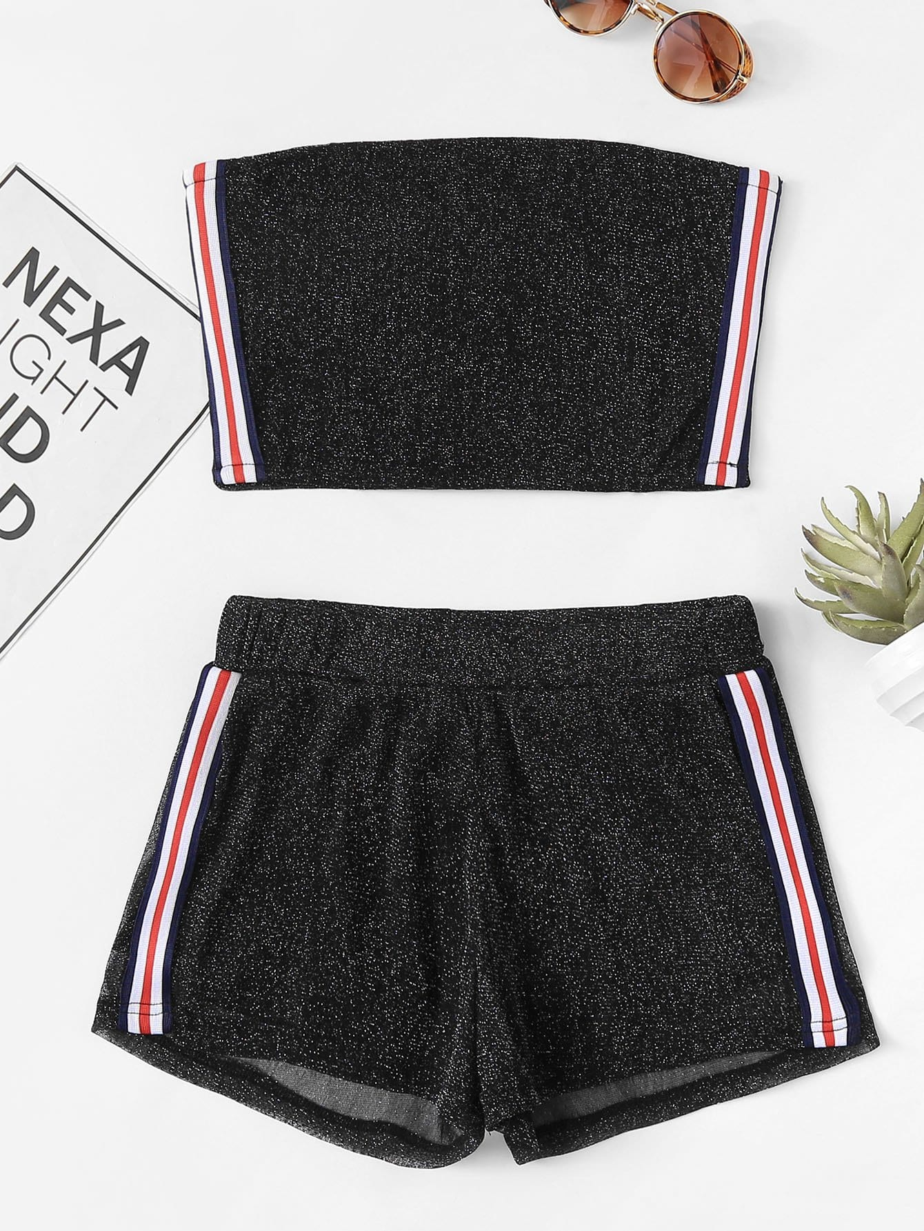 Striped Tape Side Tube Top With Shorts striped tape side legging shorts