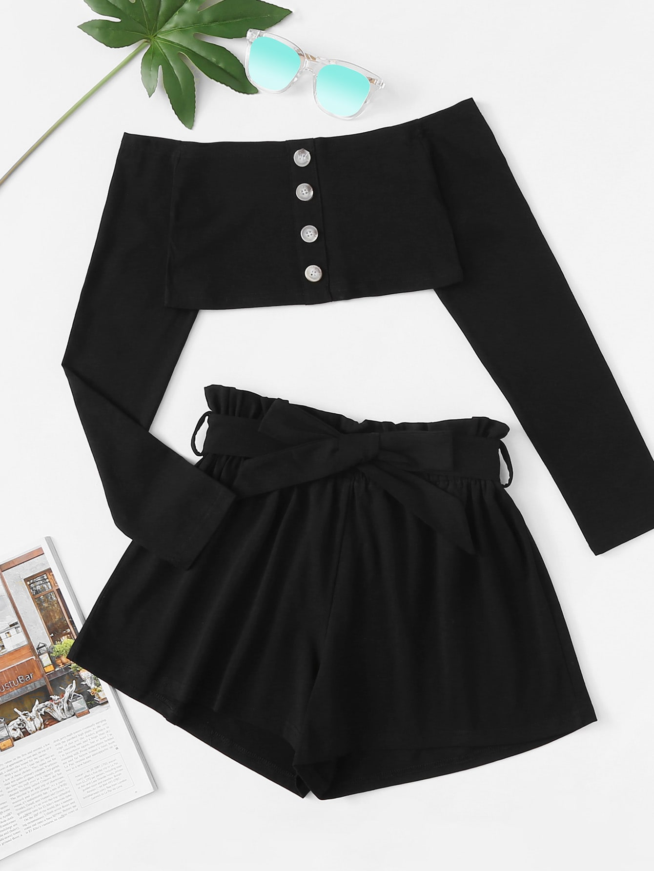 Off Shoulder Button Detail Top With Shorts