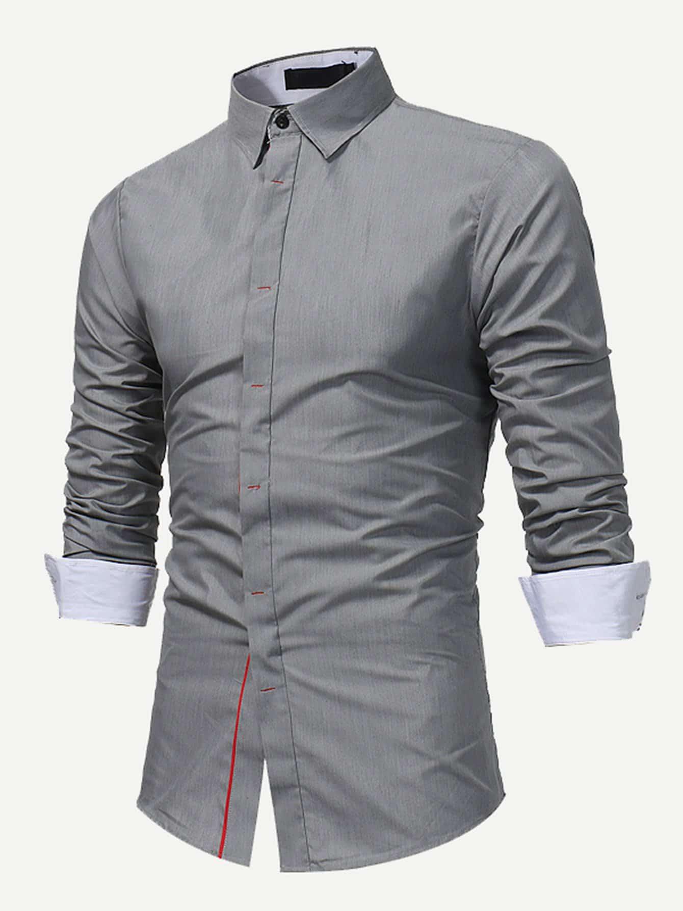 Men Roll Up Sleeve Plain Blouse men double button plain blouse