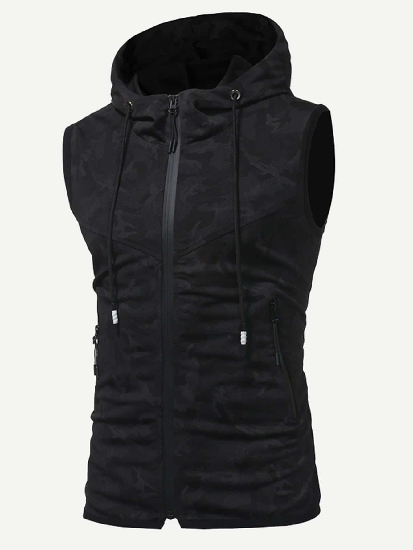 Men Hooded Sleeveless Jacket champion hooded jacket