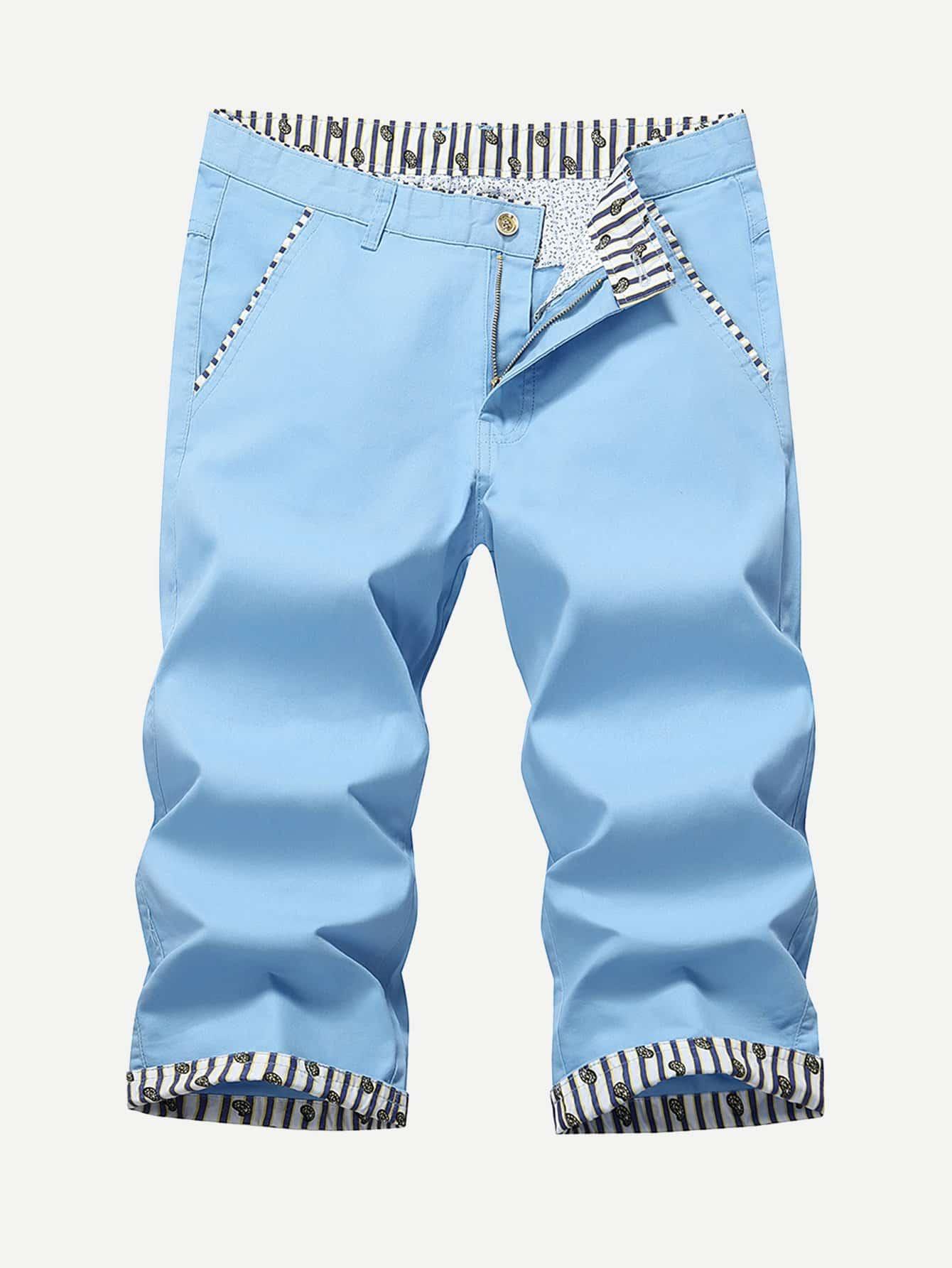 Men Striped Detail Cuffed Plain Shorts men drape detail plain tee