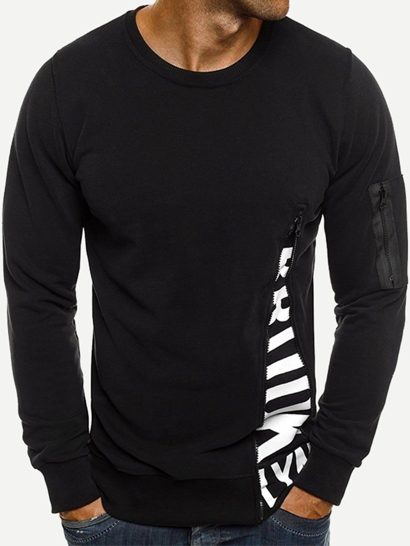 Men Zip Decoration Letter Print Sweatshirt