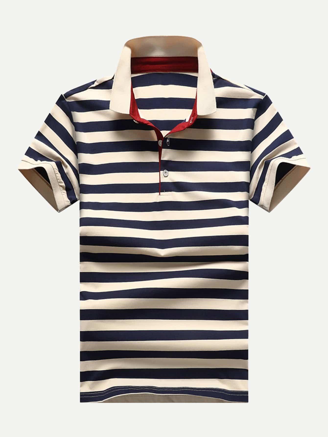 Купить Мужская полосатая рубашка поло, null, SheIn