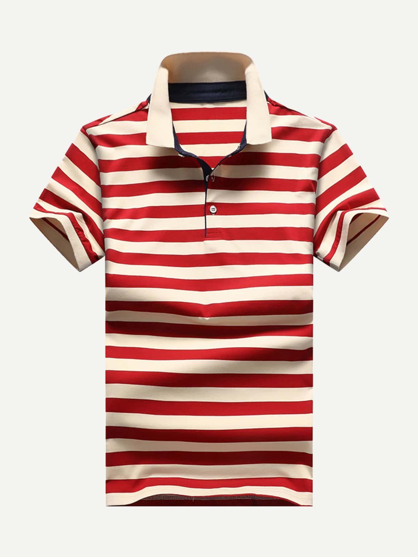 Men Striped Polo Shirt men striped neck polo shirt
