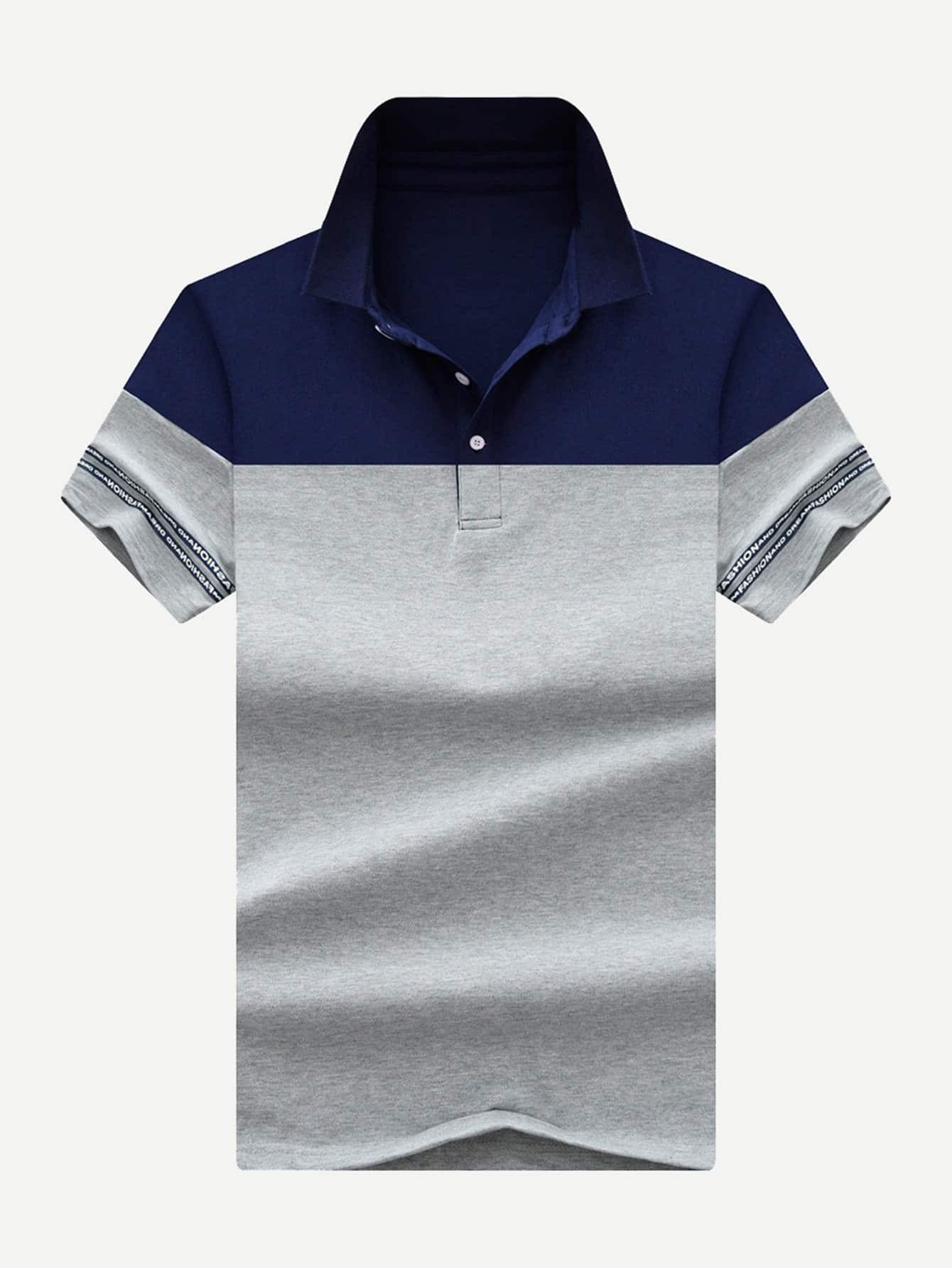 Купить Мужчины Письмо Печать Cut And Sew панели поло рубашки, null, SheIn