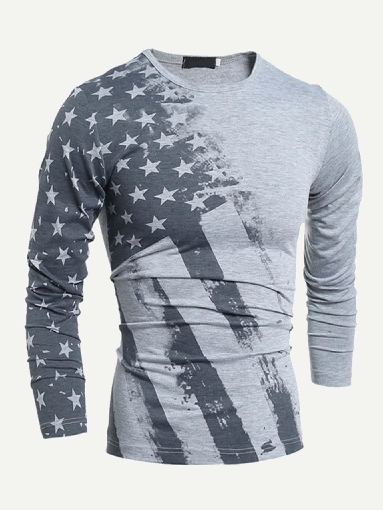 Männer T-Shirt mit Amerikanische Flagge Muster