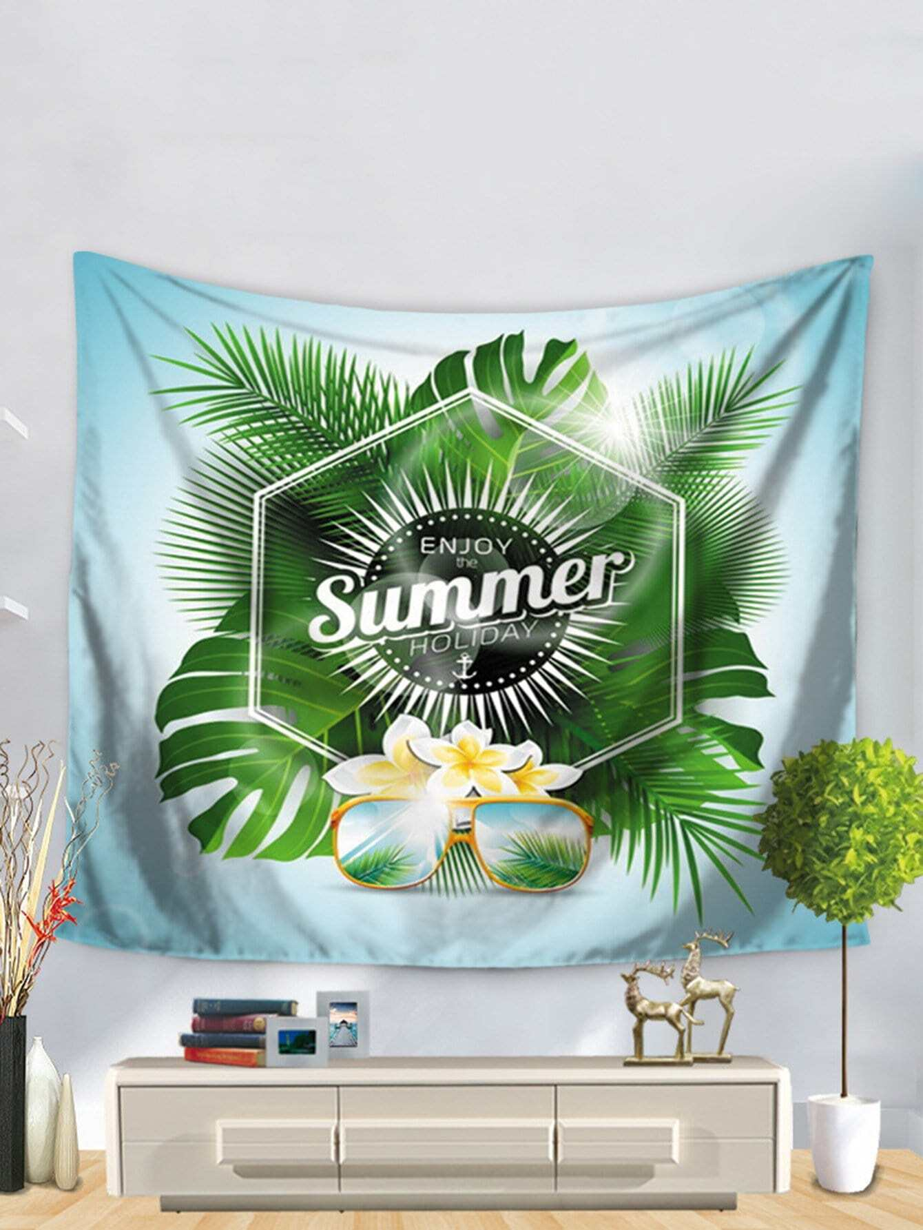 Tropical Print Tapestry tropical leaves print tapestry