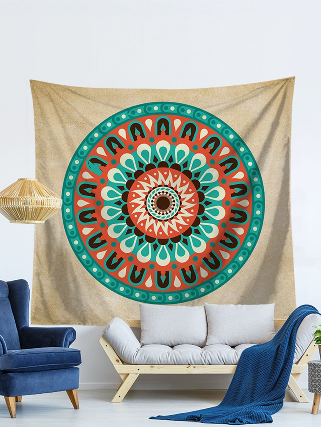 Round Lotus Flower Tapestry patchwork lotus flower print tapestry