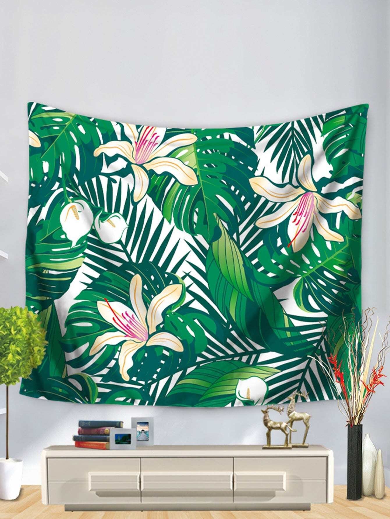 Tropical Leaves & Flower Tapestry tropical leaves print tapestry