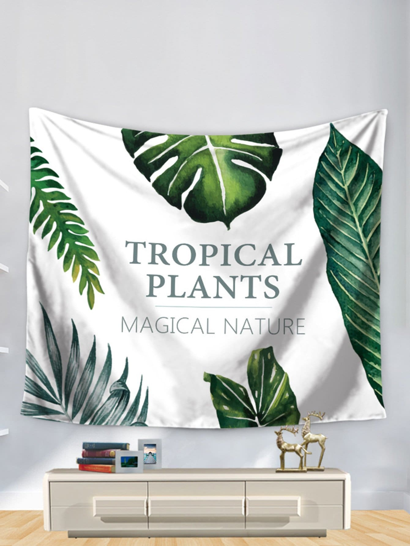 Tropical Plant Print Tapestry tropical leaves print tapestry