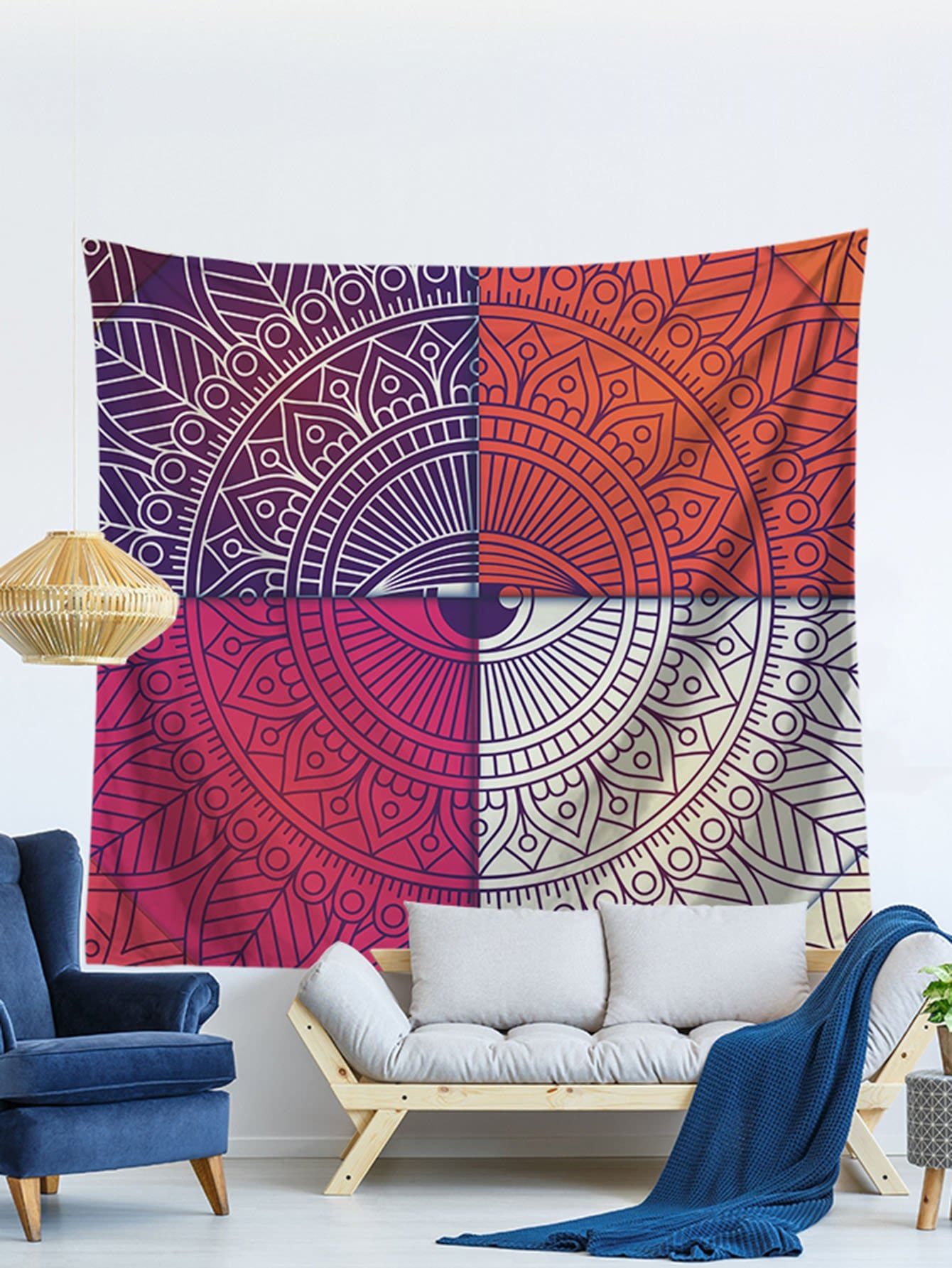 Patchwork Lotus Flower Print Tapestry patchwork lotus flower print tapestry