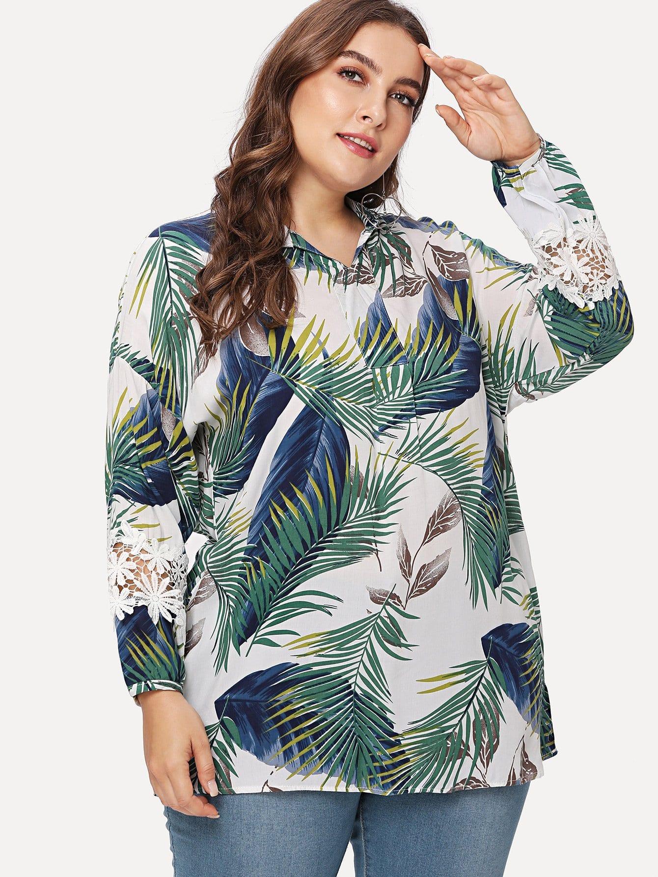 Купить Блузка с принтом тропики, Franziska, SheIn