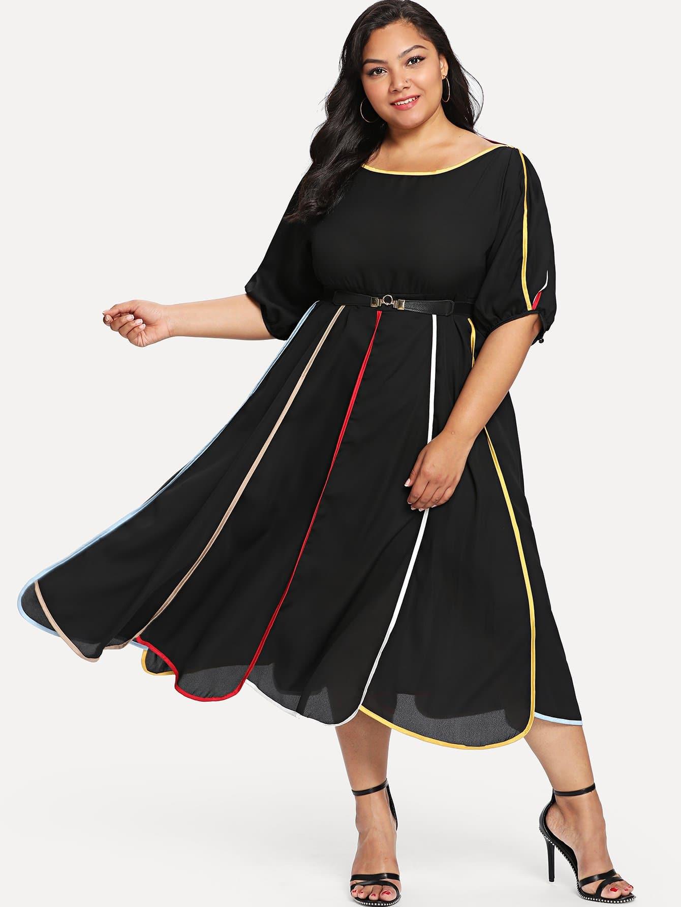Bishop Sleeve Striped Belted Dress bishop sleeve tropical print dress