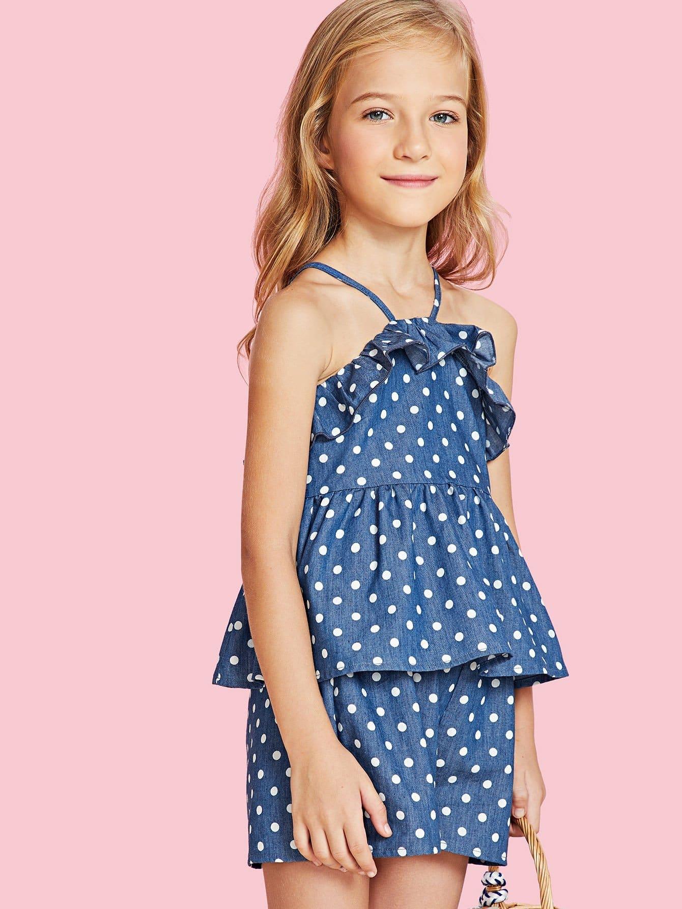 Polka Dot Ruffle Cami Top & Shorts Co-Ord polka dot wrap cami top