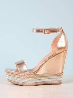 Metallic Espadrille Platform Wedge Sandal