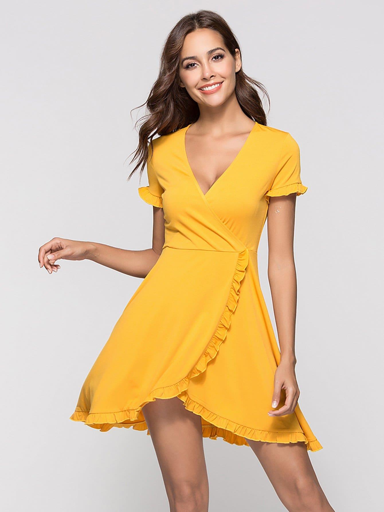 Deep V Neckline Frill Trim Dress v neckline frill trim striped top