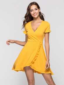 Deep V Neckline Frill Trim Dress