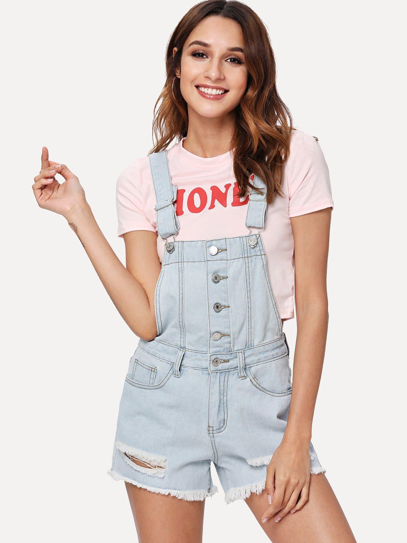 Купить Комбинезон из черной джинсовой ткани с кнопкой, Gabi B, SheIn