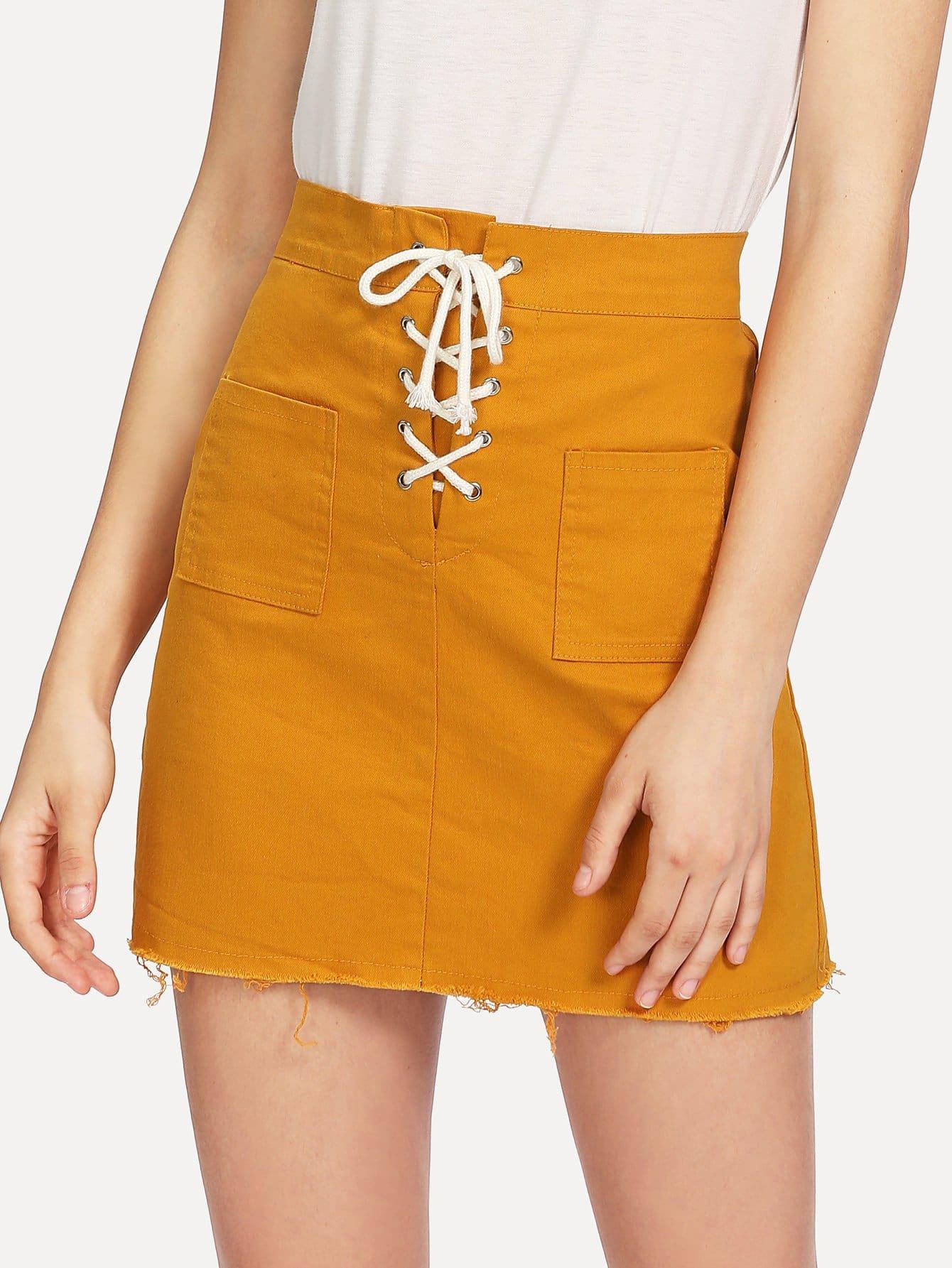Lace Up Raw Hem Denim Skirt orange lace up design irregular hem skirt