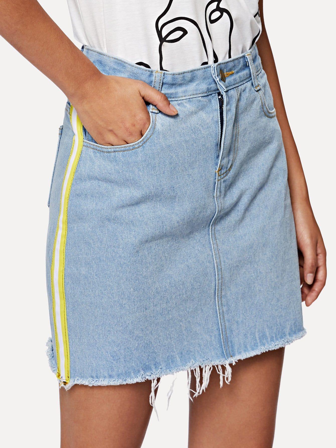 Купить Одетые джинсовые юбки с полосками, Starl Lane, SheIn
