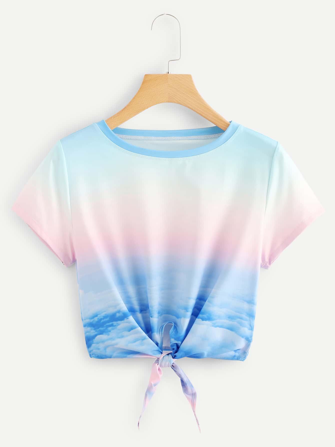 Купить Небо печатать короткую футболку с луком, null, SheIn