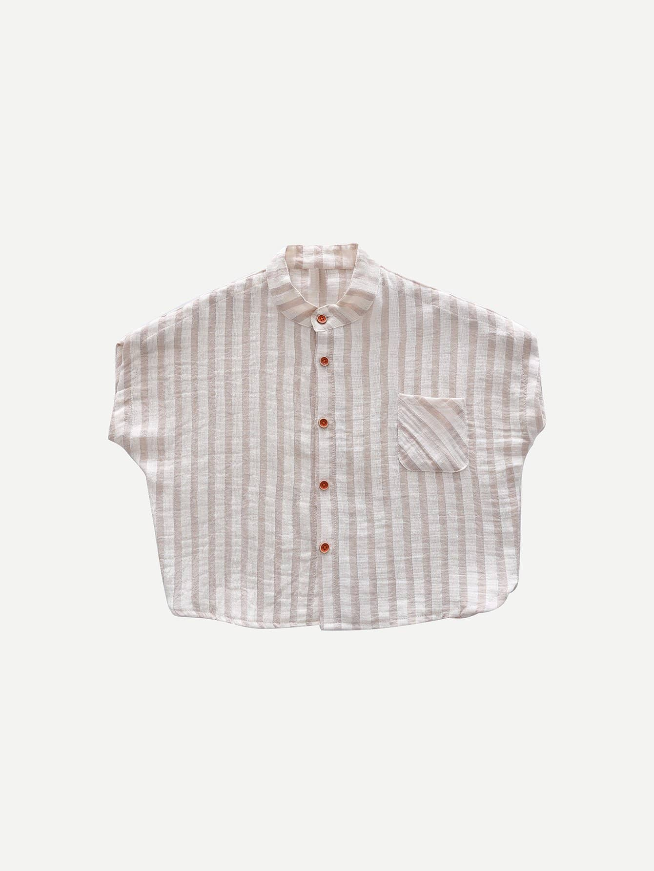 Фото - Girls Single Breasted Chest Pocket Striped Shirt striped knotted front cuffed shirt with chest pocket