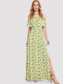 Off Shoulder Split Printed Dress