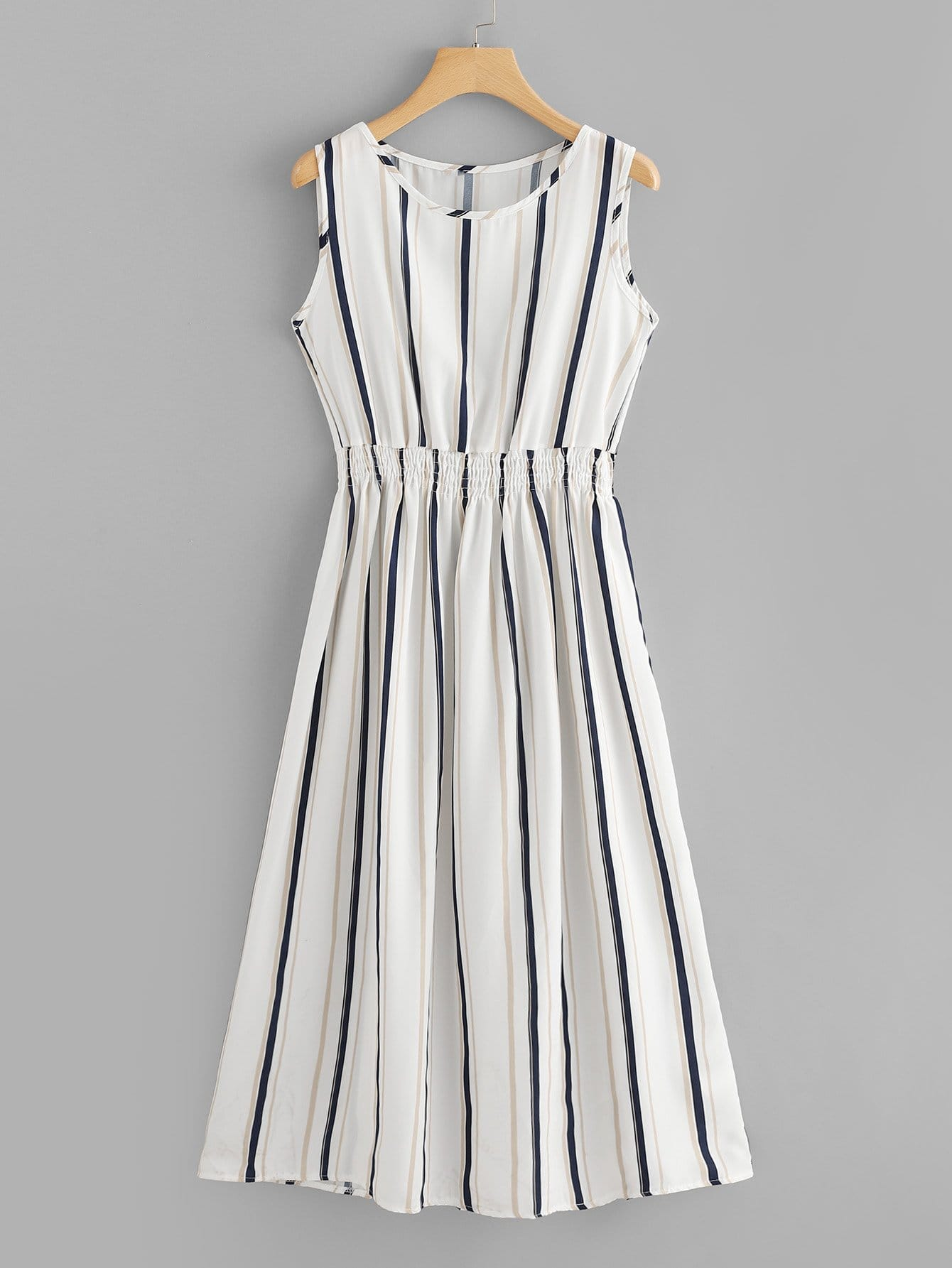 Купить Платье с эластичным поясом с полосками, null, SheIn