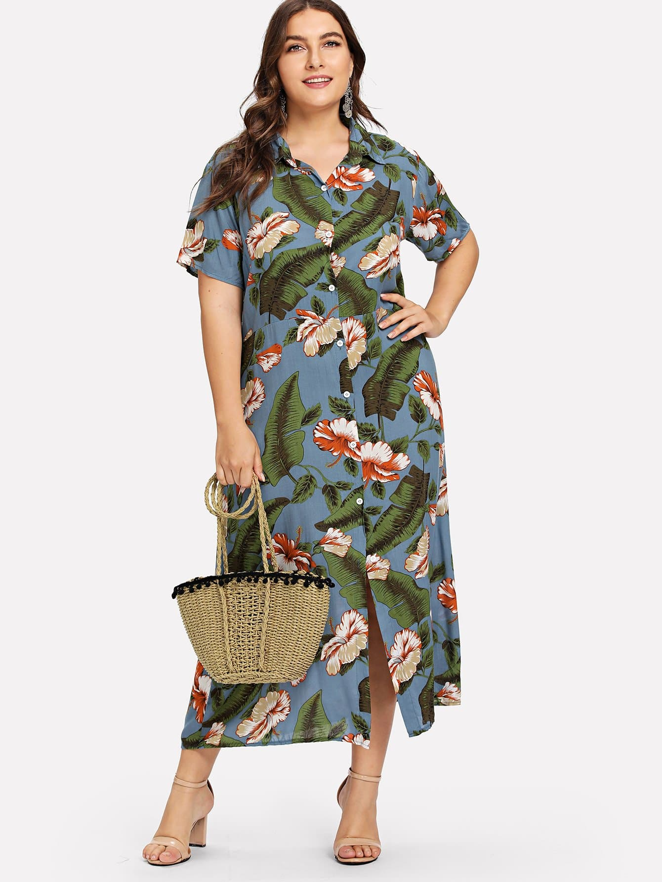 Plus Single Breasted Floral Dress