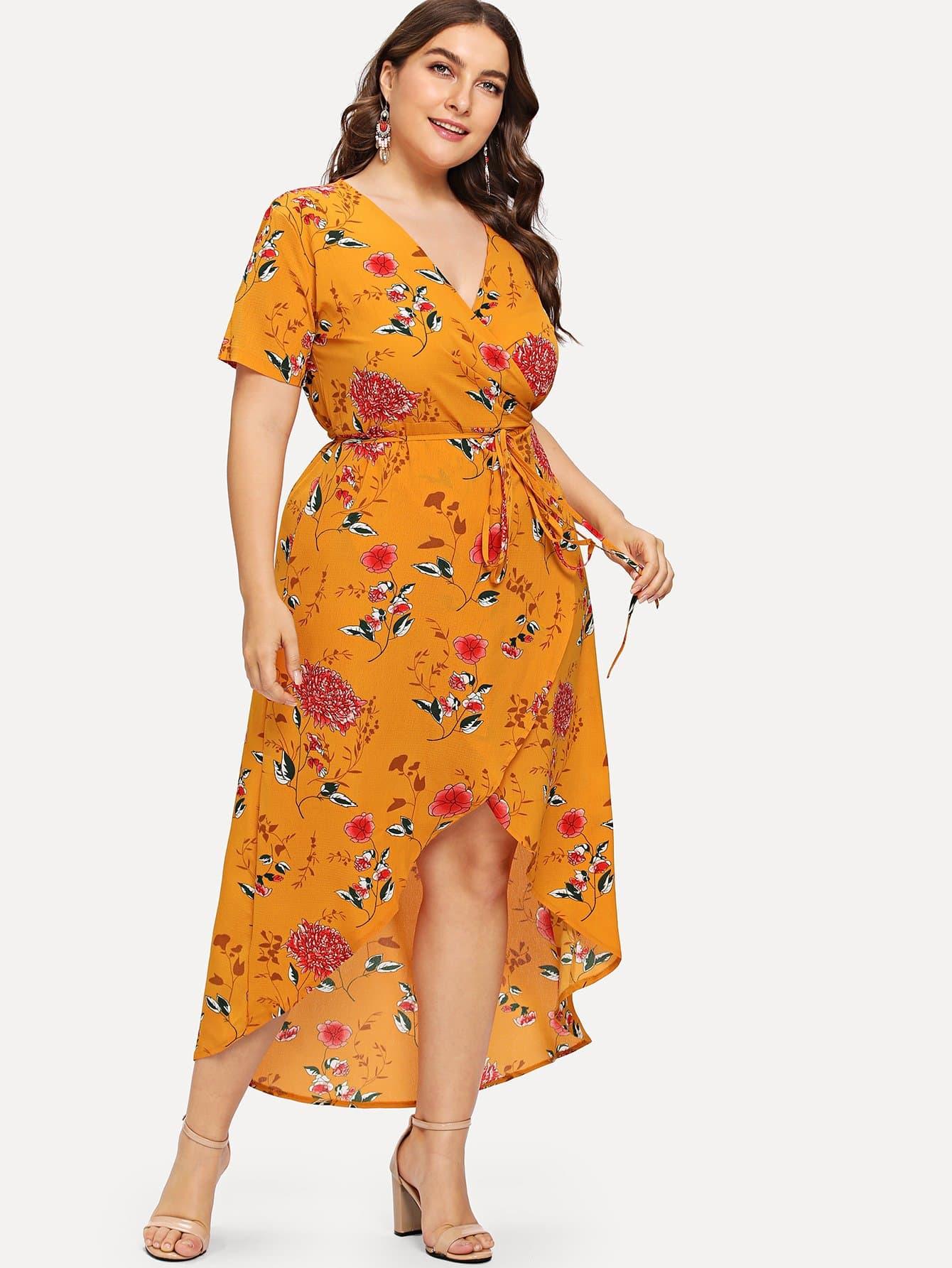 Купить Платье в цветочек со шнурком, Franziska, SheIn