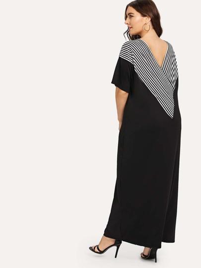 Romwe / Plus V Neckline Striped Dress