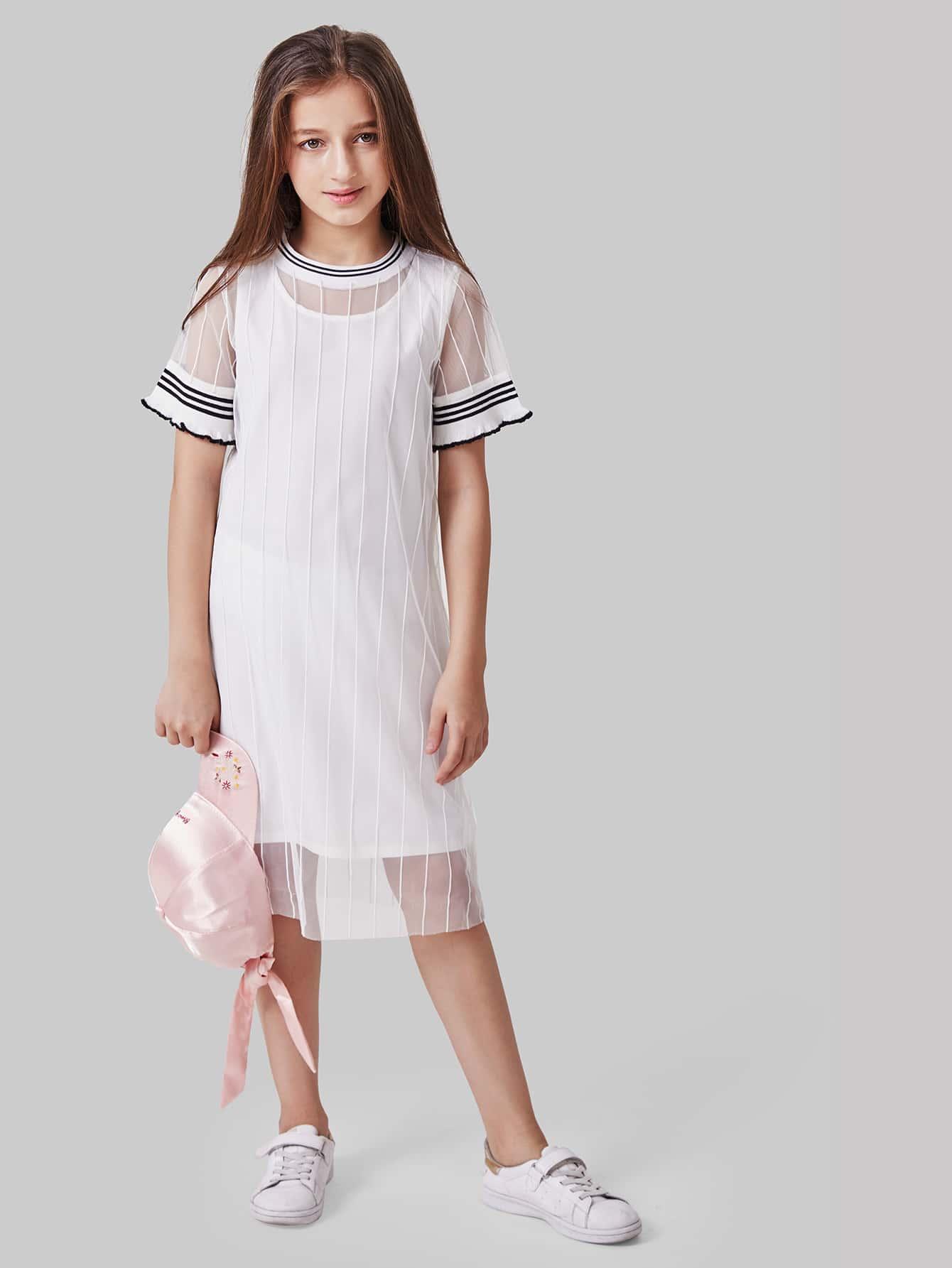 Girls Sheer Mesh Striped Dress With Vest Dress Insert skull print sheer mesh dress
