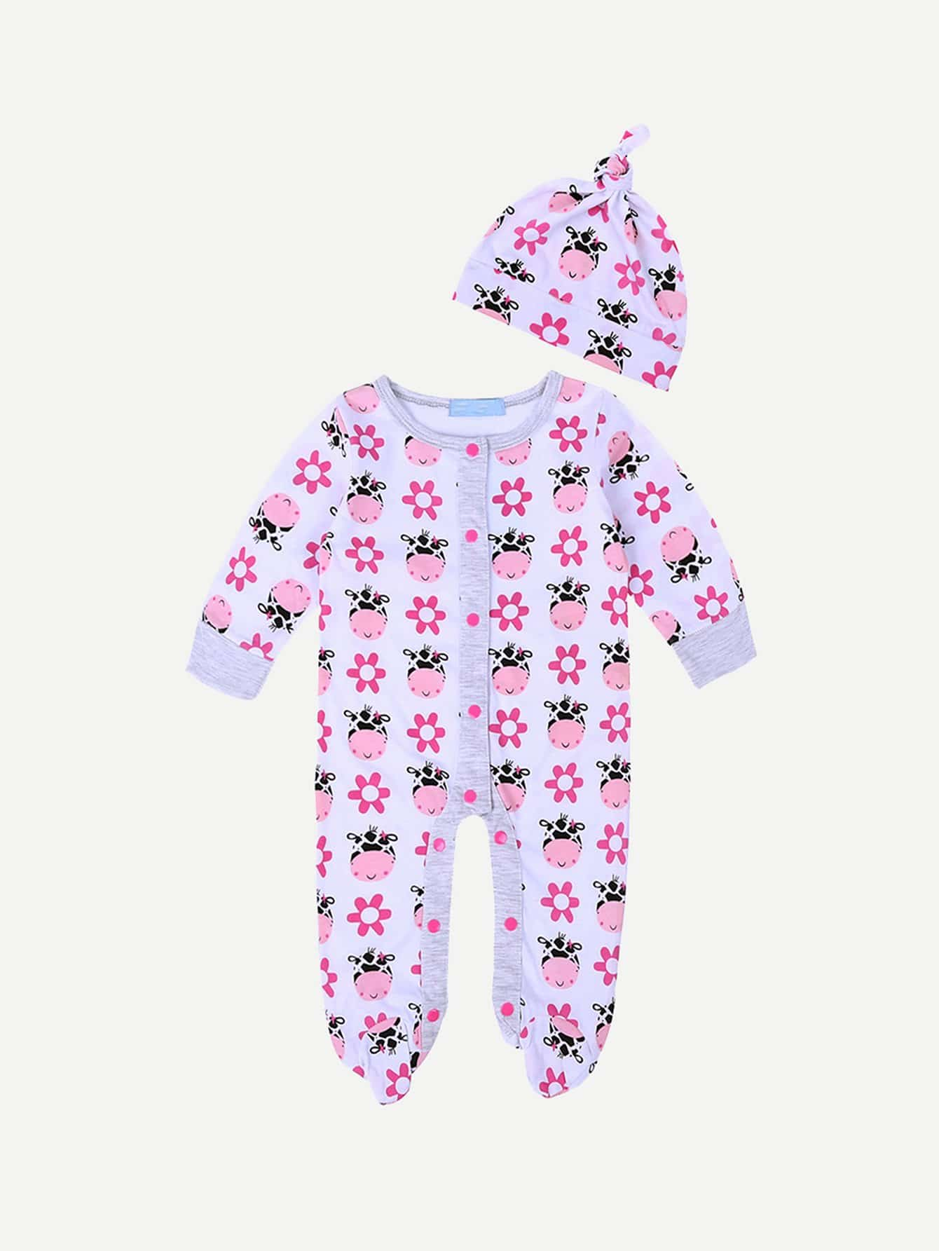 Single Breasted Cartoon Print Jumpsuit With Hat fruit print single breasted kimono