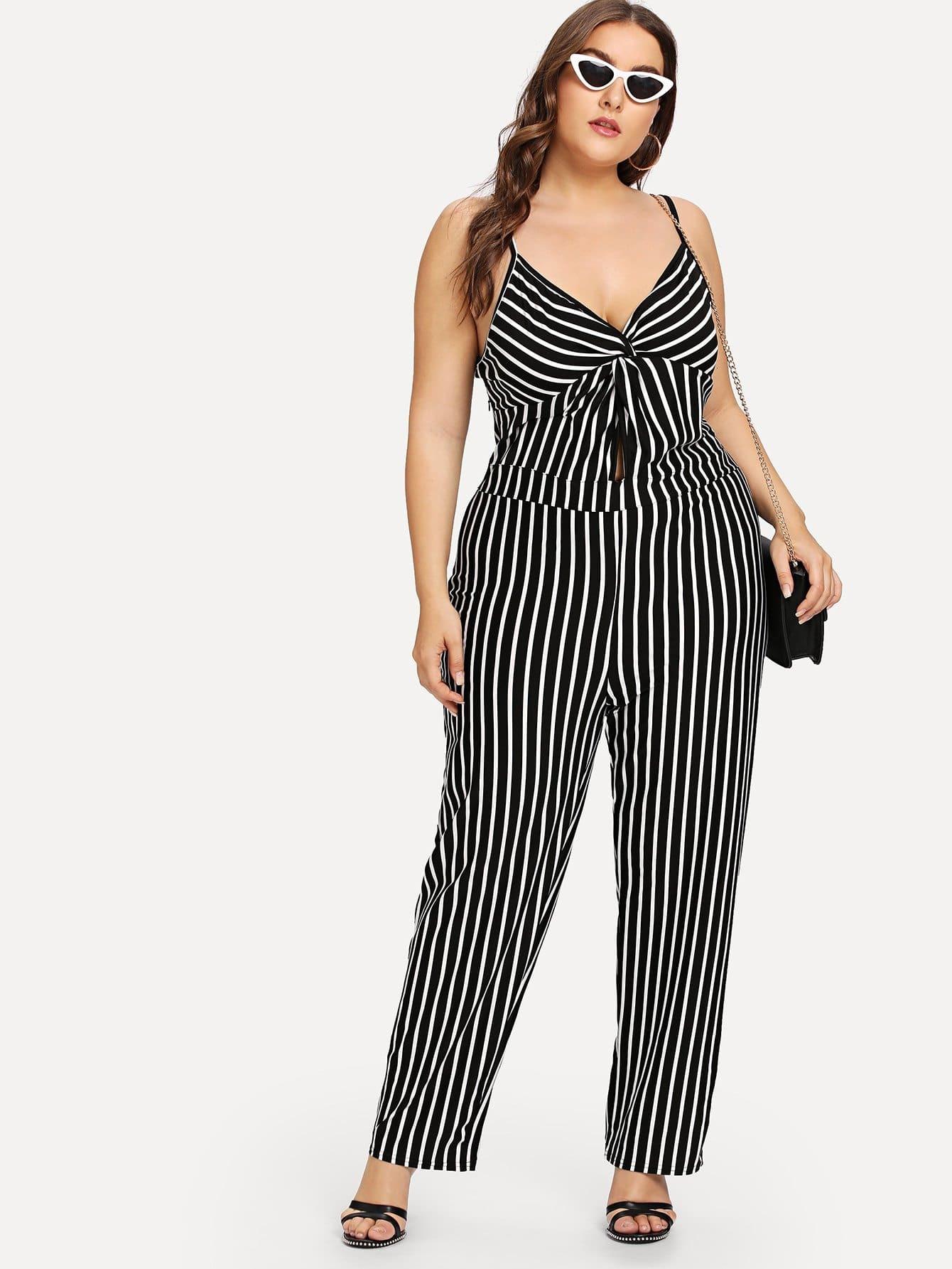Plus Cut Out Twist Front Striped Cami Jumpsuit