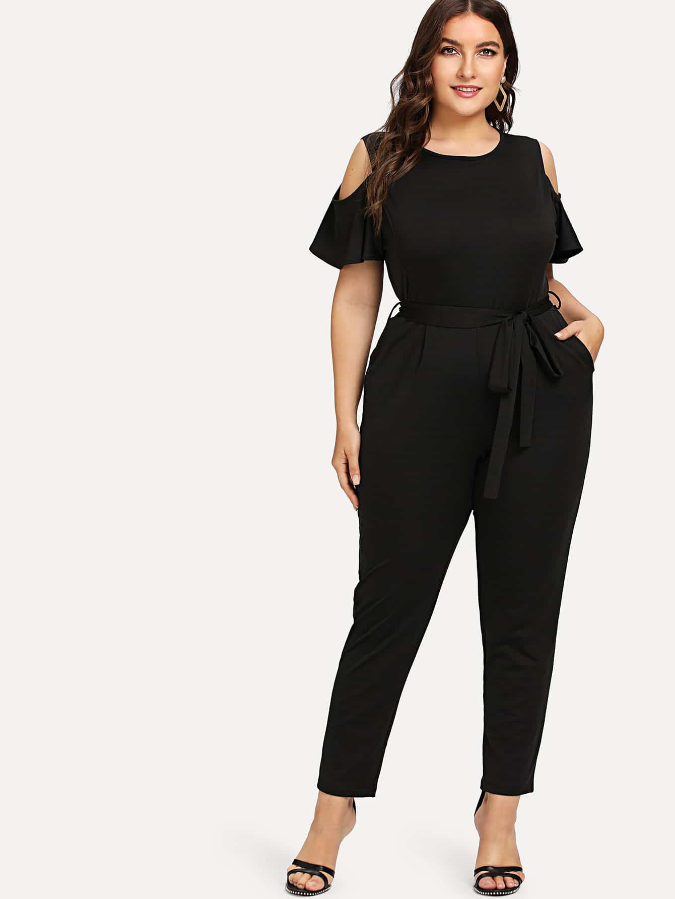 Open Shoulder Self Tie Waist Jumpsuit смеситель для кухни zorg zr 800 k a7 5