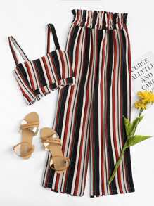 Striped Crop Cami Top With Pants