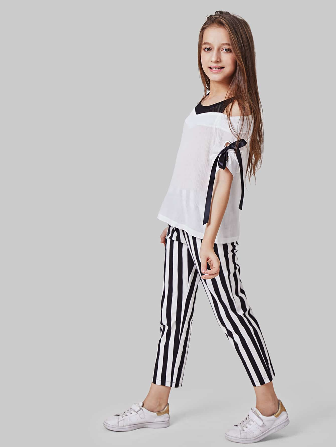 Knot Side Contrast Panel Top With Striped Pants contrast panel side pleated harem pants