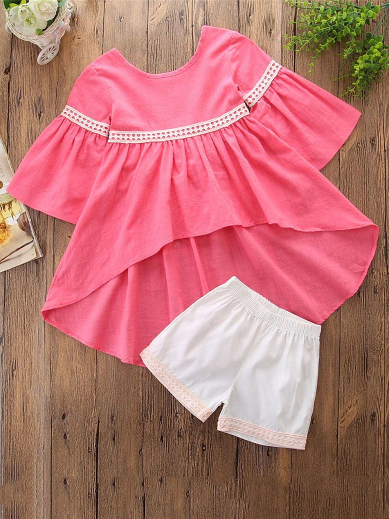 Lace Panel Dip Hem Top With Shorts lace panel hollow out top with shorts