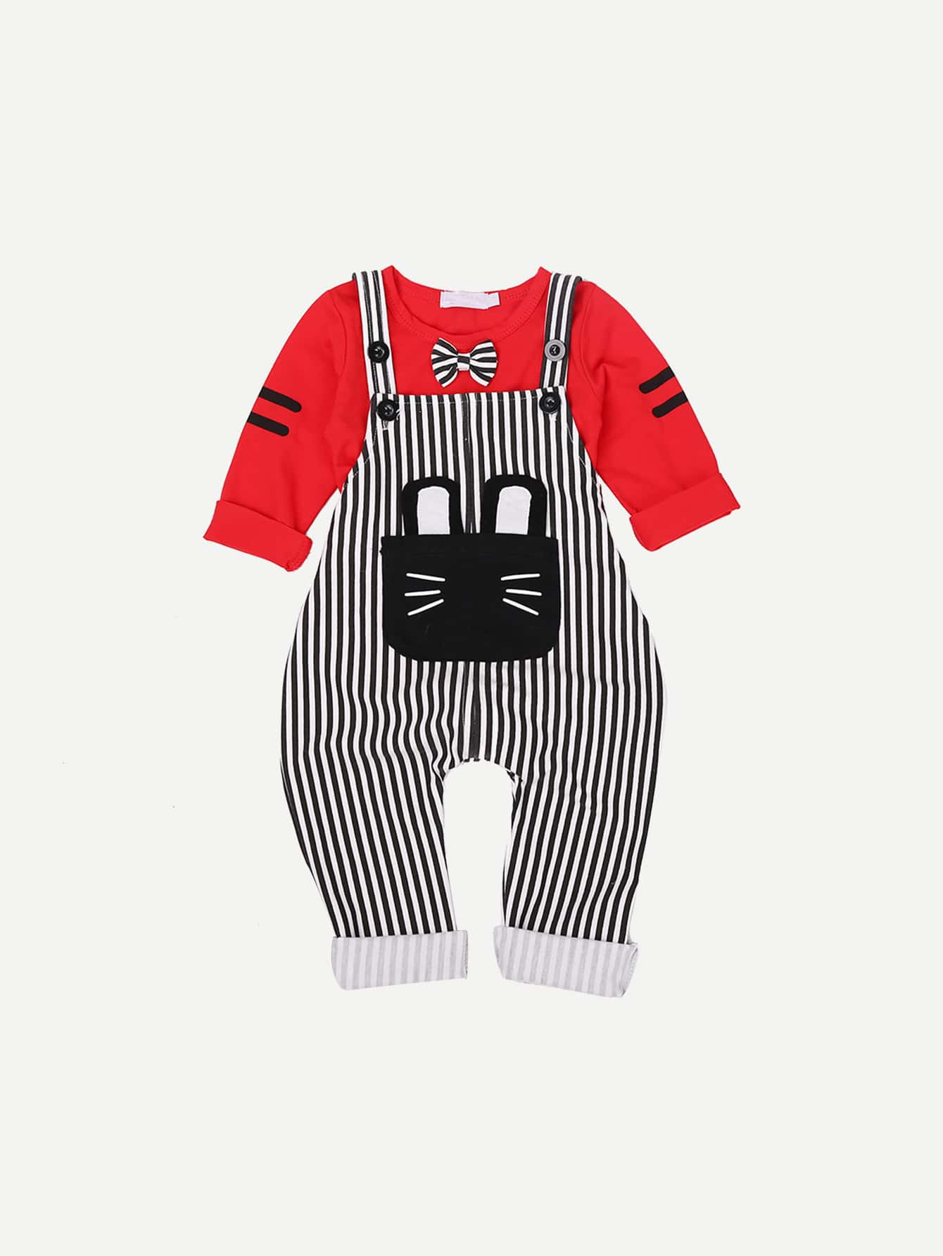 Bow Detail Tee With Striped Jumpsuit bow detail striped dress