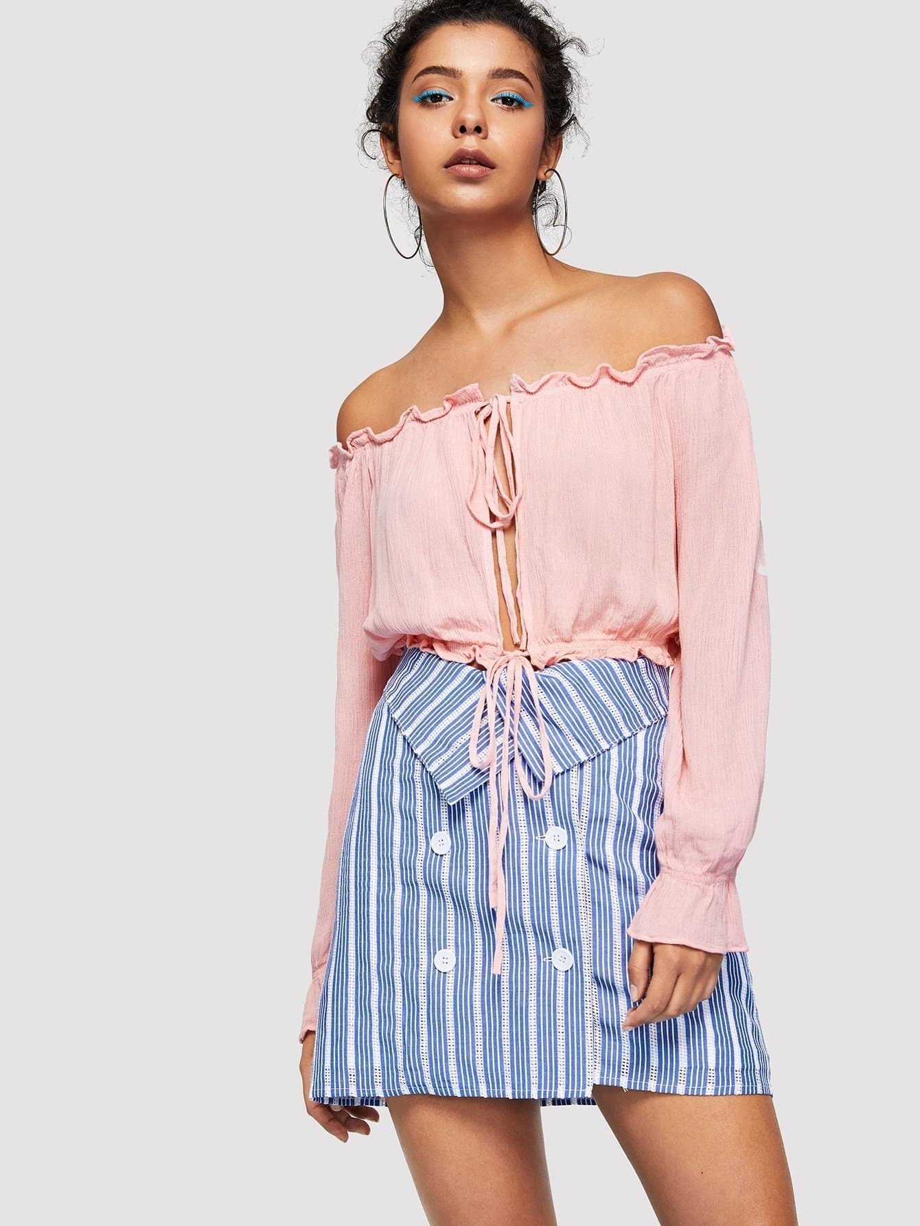 Tied Open Front Frilled Off Shoulder Top button front frilled detail top