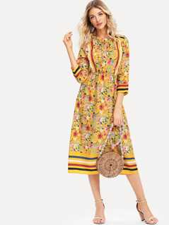Frilled Tie Neck Mixed Print Dress