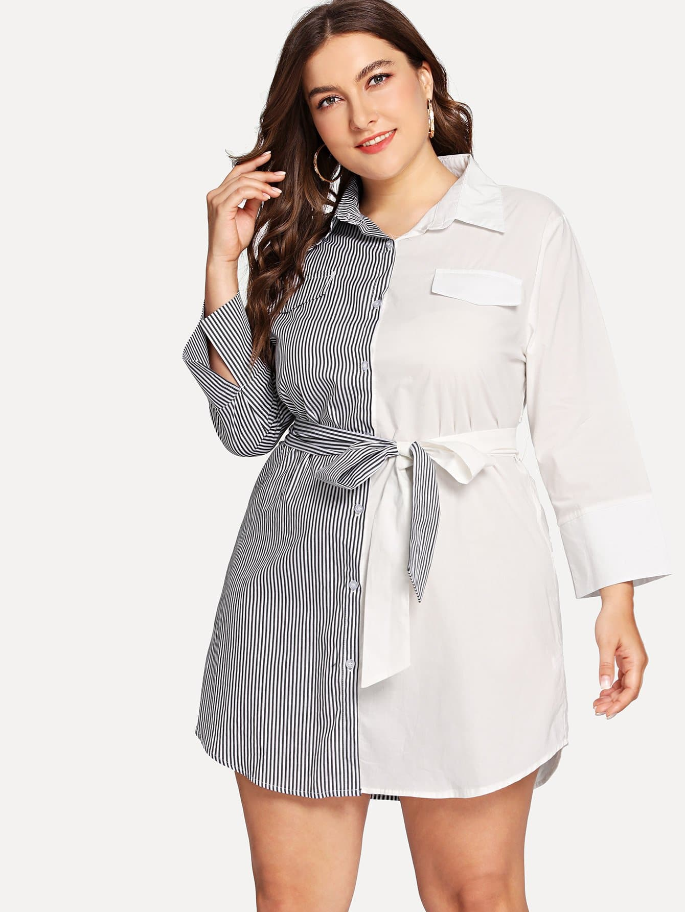 Two Tone Belted Shirt Dress two tone belted trench coat