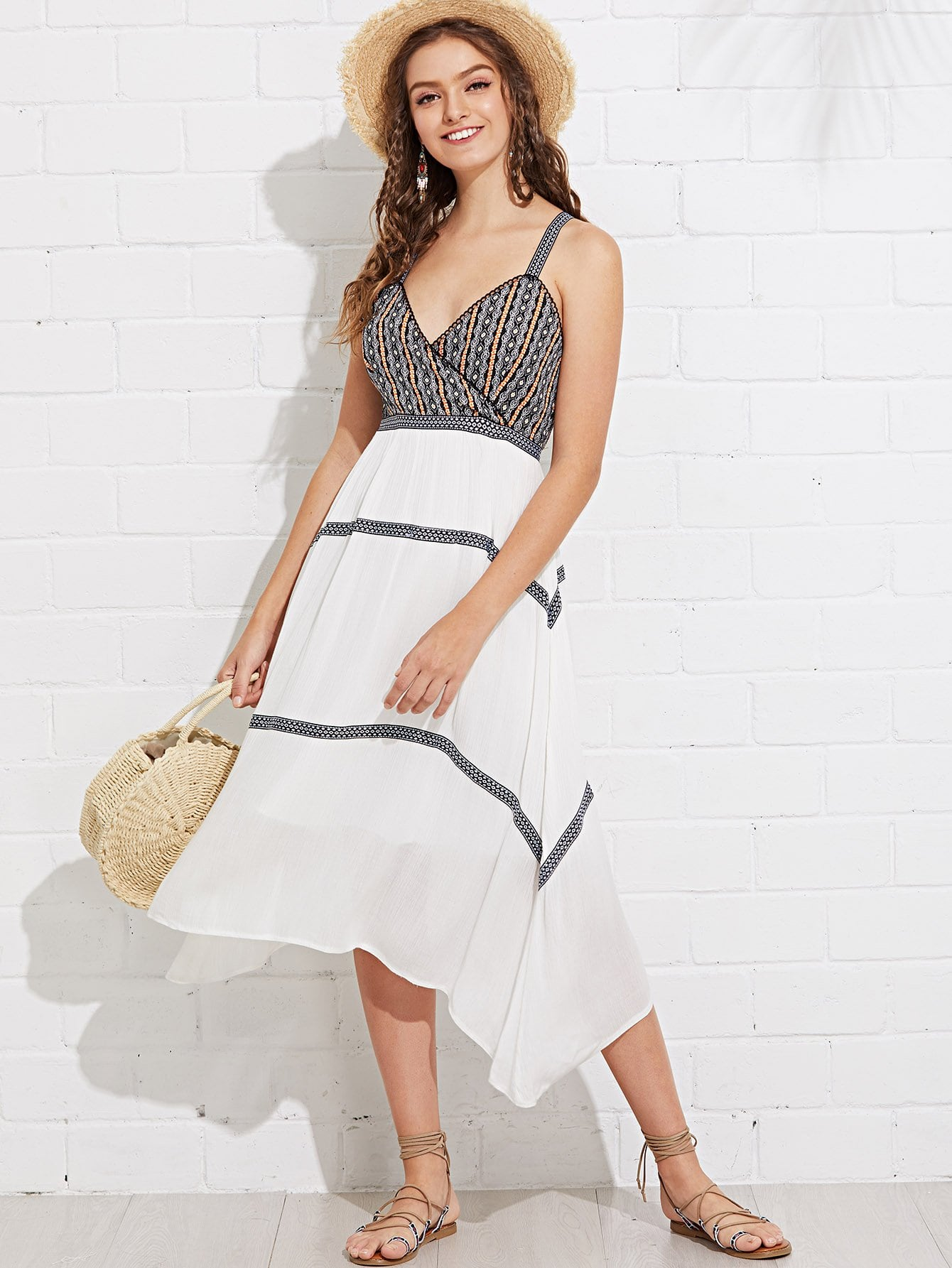 Geo Print Fit & Flare Wrap Dress tied neck geo print flare dress