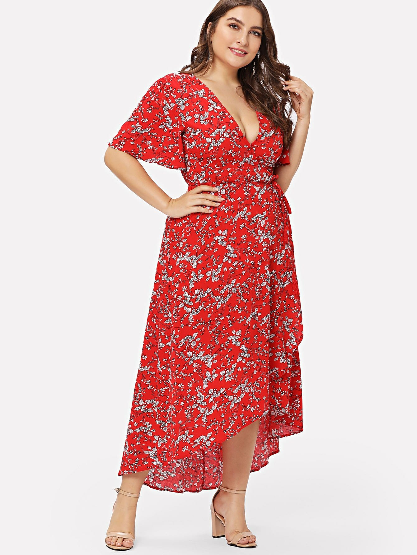 Flutter Sleeve Overlap Hem Floral Dress flutter sleeve elastic waist floral dress