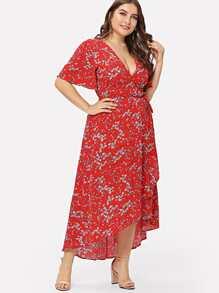 Plus Flutter Sleeve Overlap Hem Floral Dress
