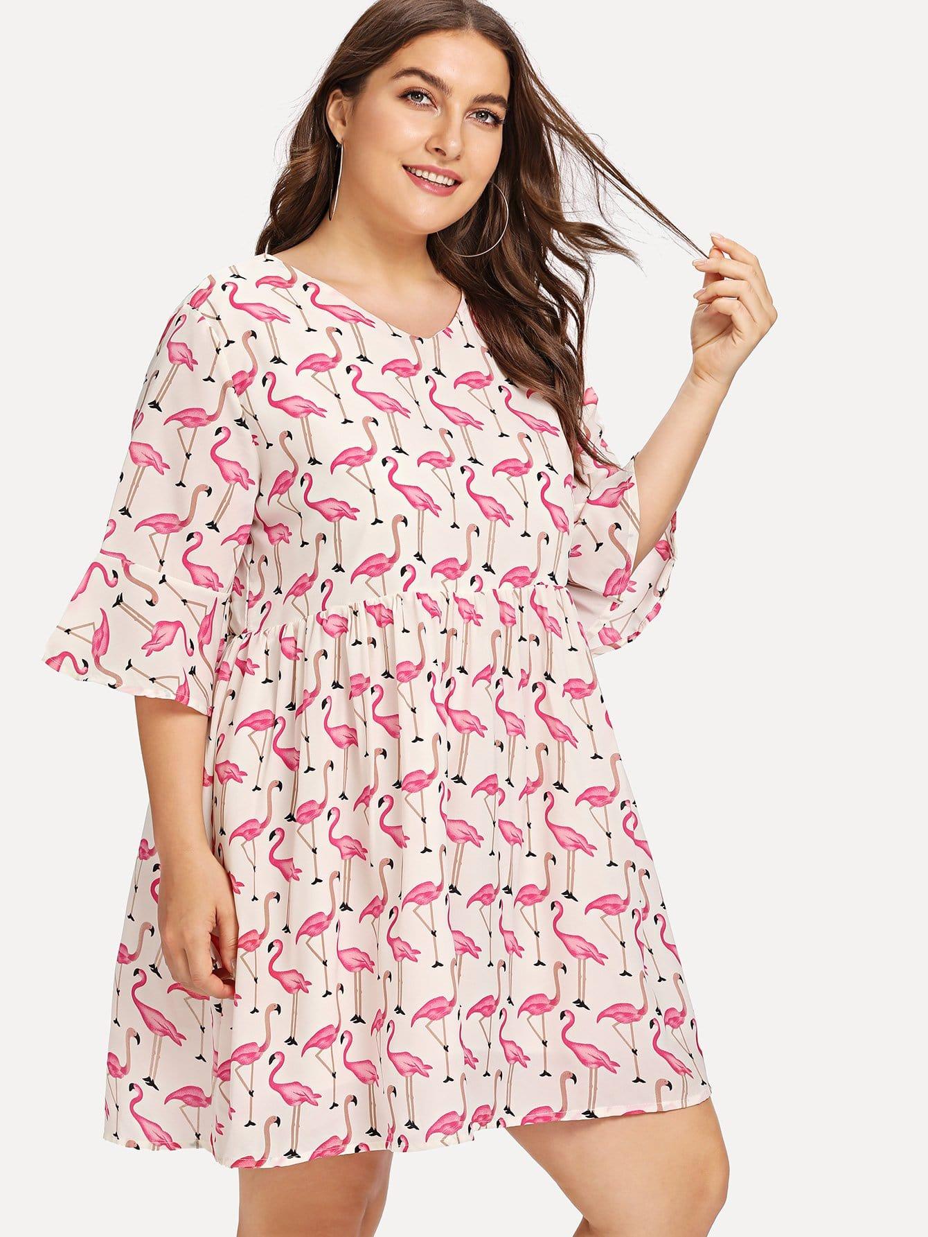 Платье с принтом фламинго и широкими рукавами, Franziska, SheIn  - купить со скидкой