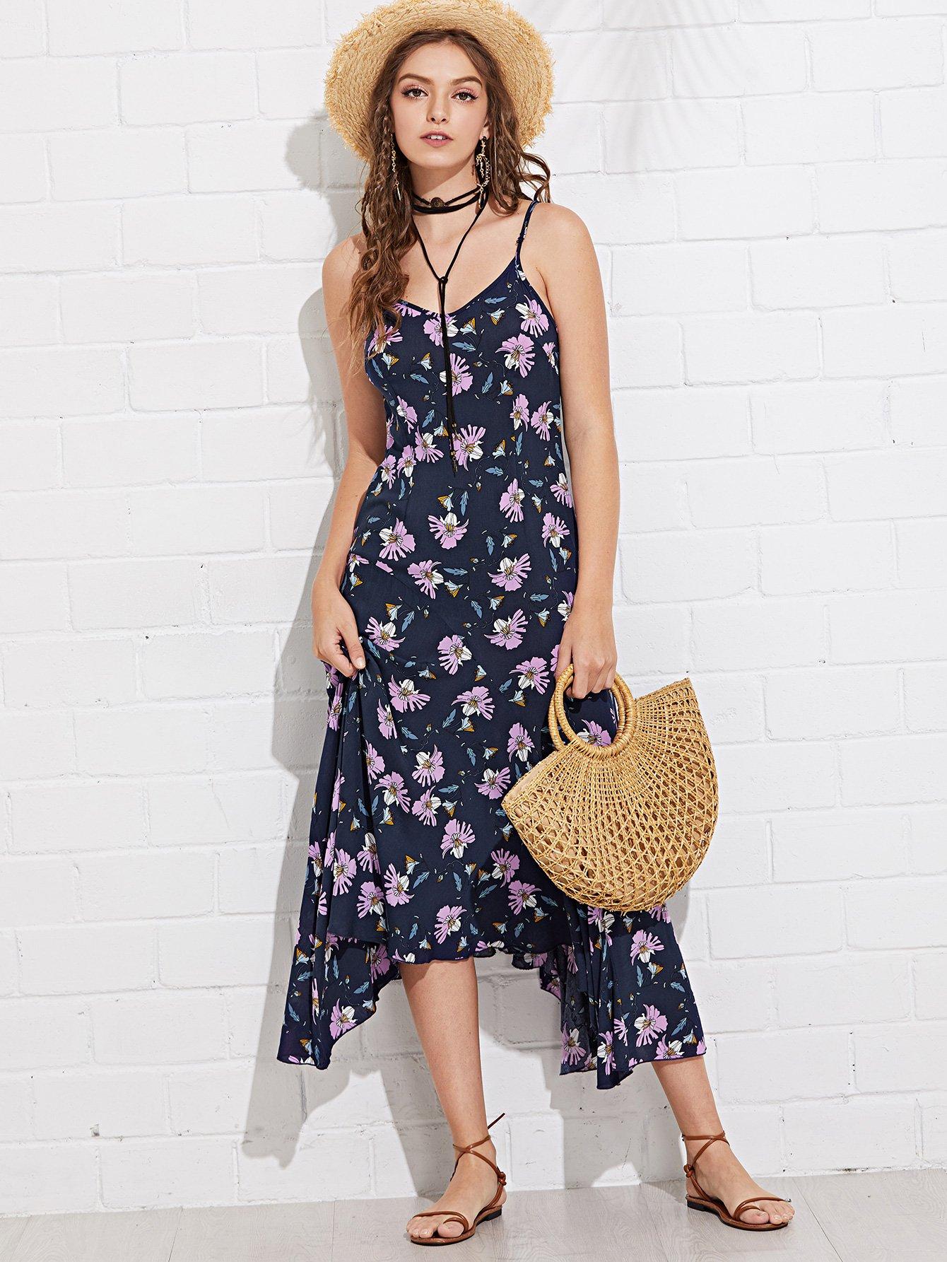 Купить Цветочная печать Асимметричное платье Hem Cami, Luiza, SheIn